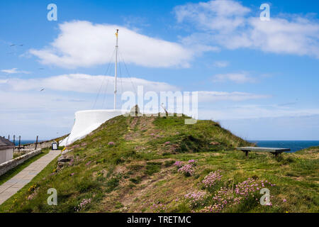 Visitor Centre in former coastguard lookout built on inner rampart of Pictish fort in Moray Firth. Burghead, Moray, Scotland, UK, Britain - Stock Image