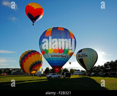 Evening launch at the 30th annual Atlantic International Balloon Fiesta in Sussex, New Brunswick, Canada, Sept. - Stock Image