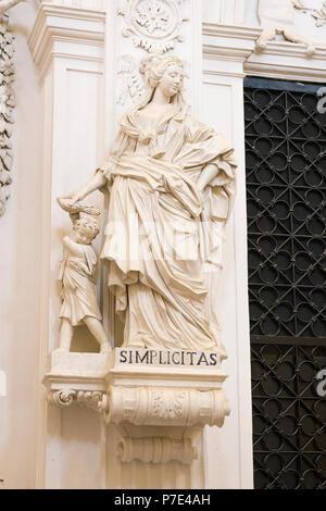 Italy Sicily Agrigento Piazza Purgatorio Chiesa di San Lorenzo rebuilt 1600s famed statues sculptures Christian Virtues Simplicitas woman & child - Stock Image