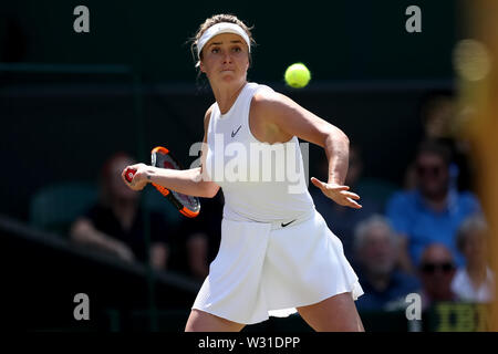 Wimbledon, UK. 11th July 2019, The All England Lawn Tennis and Croquet Club, Wimbledon, England, Wimbledon Tennis Tournament, Day 10; Elina Svitolina (UKR) with a forehand to Simona Halep (ROM) Credit: Action Plus Sports Images/Alamy Live News - Stock Image