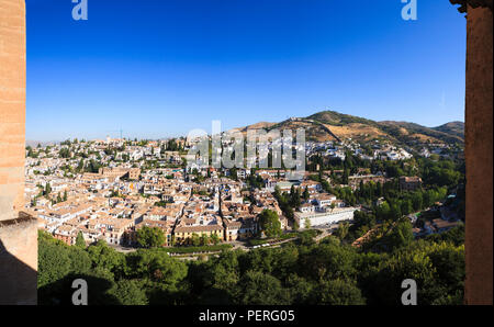 Panoramic view of Granada from the Alhambra Palace in Granada Spain - Stock Image
