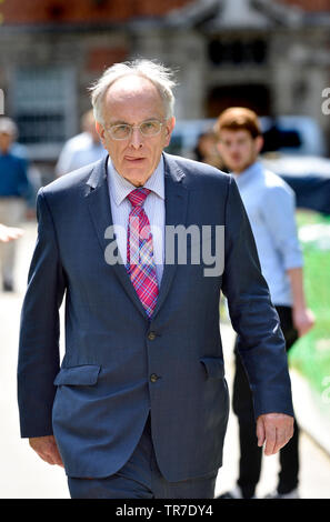 Peter Bone MP (Con: Wellingborough) on College Green, Westminster 24th May 2019, the day Theresa May announced her intent to resign as Conservative Pa - Stock Image