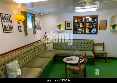 The Warrant Officers' and Chief Petty Officers' Mess, Royal Yacht Britannia, Port of Leith, Edinburgh, Scotland, UK - Stock Image