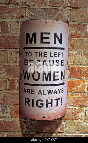 Men to the left, because women are always right, sign on an old brick wall - Stock Image
