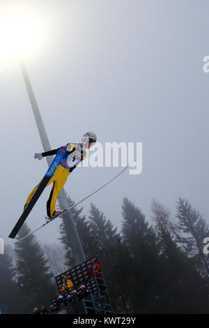 Bischofshofen, Austria. 05th, Jan 2018. Romasohov Alexey from Russia competes during a training jump on day 7 of - Stock Image