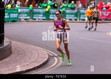 Elite Female Athlete, Sinead Diver running for Australia in the 2019 London Marathon. She went on to finish 7th in a time of  02:24:11 - Stock Image