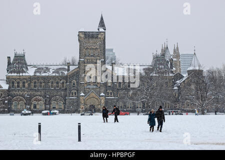King's College in University of Toronto in snow. - Stock Image