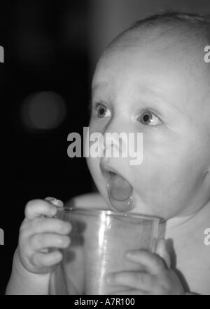 Eight month old baby - Stock Image