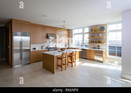 Large Open Kitchen Home Interior - Stock Image