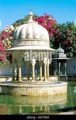 Water Feature, Udaipur Botanical Gardens, Rajasthan, India - Stock Image