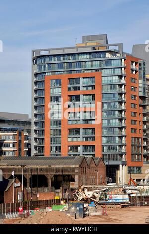 Leftbank modern apartment block on Quay Street Spinningfields Manchester - Stock Image