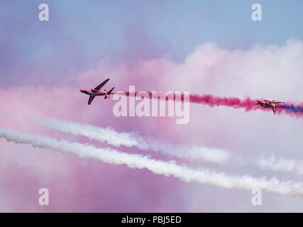 The Red Arrows Taking Part in the Royal International Air Tattoo, Fairford. - Stock Image