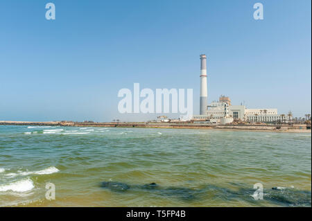 Israel, Tel Aviv - 13 April 2019: Reading Power Station a natural gas fueled thermal power station supplying electrical power to the Tel Aviv District - Stock Image
