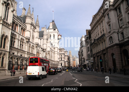 Fleet Street London Royal Courts of Justice on left - Stock Image