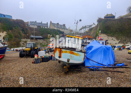 Fishing boats moored on the beach at the quaint village of Beer in East Devon UK - Stock Image