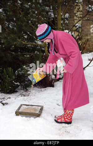 woman in dressing gown feeding birds in garden, England, UK - Stock Image
