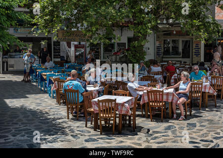 Skopelos Town Square, Northern Sporades Greece. - Stock Image
