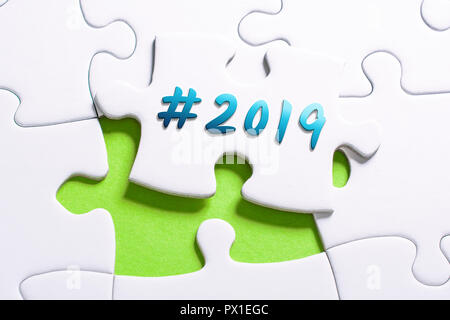 The Year 2019 With Hashtag In Missing Piece Jigsaw Puzzle - Stock Image