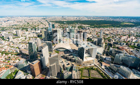 Aerial View of the Financial District La Défense, Paris France - Stock Image