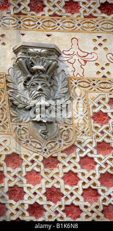 Carving of a Face on a Building in Zocalo Square, Plaza de la Constitucion, Mexico City, Mexico - Stock Image