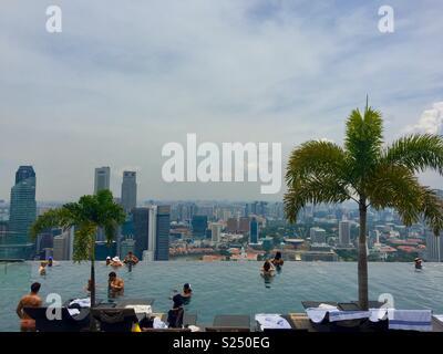 Marina Bay Sands Hotel pool - Stock Image