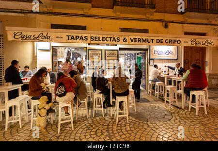 Spain tapas bar - people sitting eating and drinking outdoors at a tapas restaurant and bar at night, Malaga old town, Andalusia Spain - Stock Image