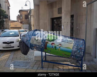Fun collection point for recycling of plastic bottles in the Turkish part of Nicosia Cyprus - Stock Image