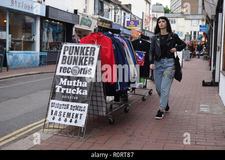 North Laine shopping in Brighton, East Sussex, united kingdom - Stock Image