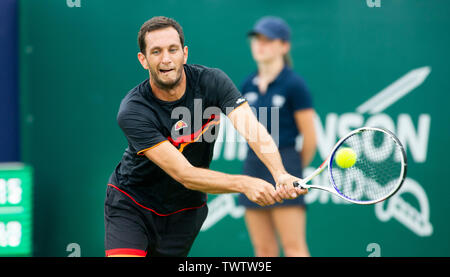 Eastbourne, UK. 23rd June 2019.  James Ward of Great Britain in action against Denis Kudla of USA during their match at the Nature Valley International tennis tournament held at Devonshire Park in Eastbourne . Credit : Simon Dack / TPI / Alamy Live News - Stock Image