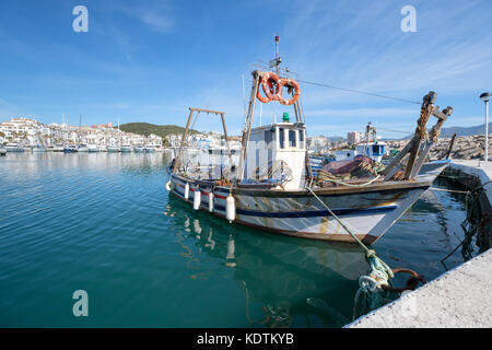 Traditional old Fishing Boat in a harbour. - Stock Image