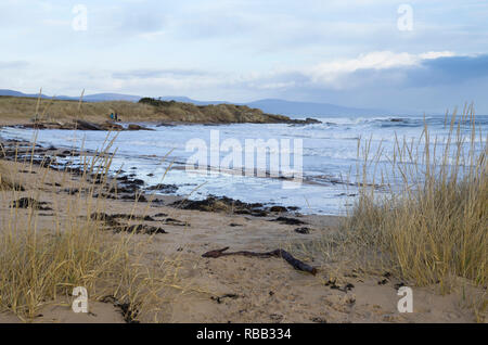 Dornoch beach in winter, looking north across the Dornoch Firth to Sutherland, Scotland - Stock Image