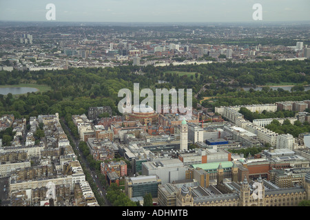 Aerial view of the Royal College of Music, Imperial College and the Royal Albert Hall in South Kensington in London. - Stock Image
