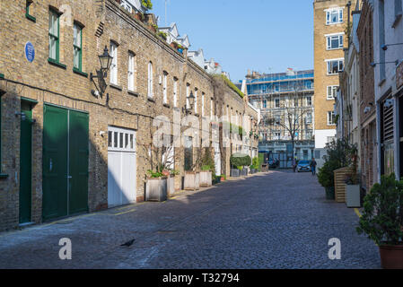 The one time home of the painter Francis Bacon in Reece Mews, a pretty Victorian cobbled mews in South Kensington, London, England, UK - Stock Image