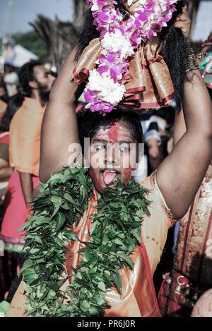 Entranced Hindu pilgrims at Batu Caves during Thaipusam festival in Selangor, Malaysia - Stock Image