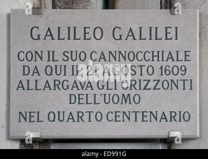Engraved plaque in St Marks Bell Tower Venice Italy commemorating Galileo  demonstration his telescope to the Doge - Stock Image