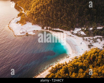 Sunrise at Porto Vathy marble beach in Thasos, Greece - Stock Image