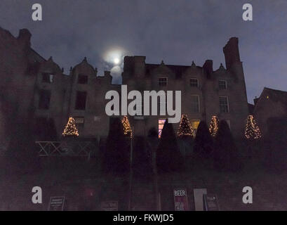 Hay on Wye Castle with Christmas Trees and lights - Stock Image