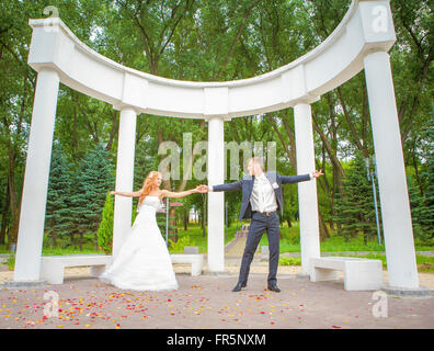 wedding, young people, male and female, wedding day, walk before the wedding, shooting before the wedding, Love - Stock Image