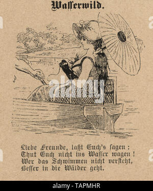 Victorian Cartoon of woman out boating in a rowing boat with parasol, 1880s, German 19th Century - Stock Image