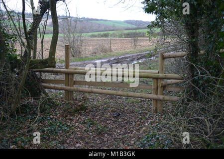 Fence on bridleway built as a hunt jump near the north Oxfordshire village of Hook Norton. This saves members of - Stock Image