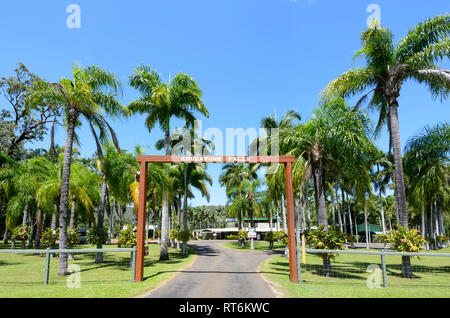 Entrance to the Endeavour Falls caravan park and campsite, Bloomfield Track, near Cooktown, Far North Queensland, QLD, FNQ, Australia - Stock Image