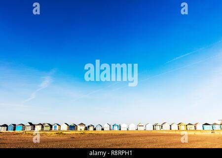 chapel st leonards Lincolnshire UK England, Chapel point beach huts, beach huts, beach hut, chapel st leonards beach huts, east coast, huts, coastal, - Stock Image