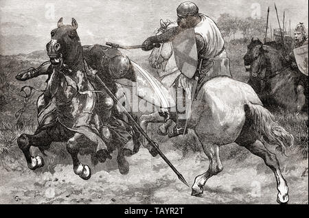 The death of Sir Henry de Bohun, killed by Robert the Bruce during the Battle of Bannockburn, 1314.  From La Ilustracion Iberica, published 1884. - Stock Image