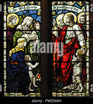 Christ with the Children. Detail of window. Church of Saint Mark, Natland, Cumbria, England, United Kingdom, Europe. - Stock Image