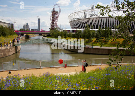 River Lea, City Mill River and Great British Garden wildflower meadow at Olympic Park, London 2012 Olympic Games - Stock Image