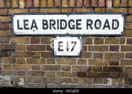 Lea Bridge Road street sign in E17, East London. Sign was made by Gowshall Ltd. - Stock Image