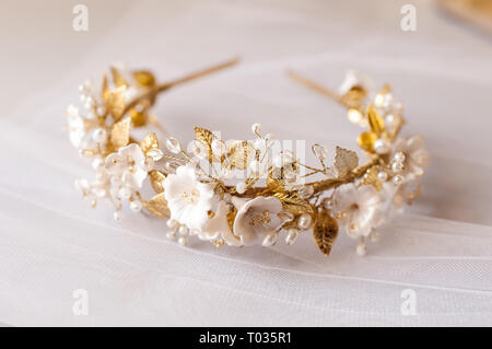 hair decoration crown wedding on yhe table - Stock Image