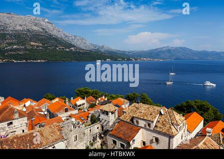 View from Korcula island; Korcula, Croatia - Stock Image