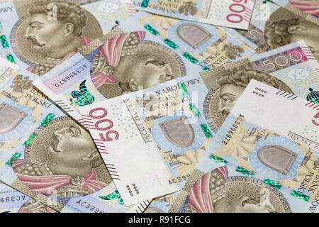 500 PLN banknotes background - Stock Image