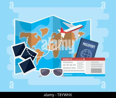 global map with airplane and passport with tickets vector illustration - Stock Image